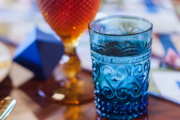 Blue glass on wedding table