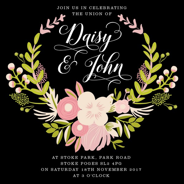 Black Wedding Invitation with Flowers and Foliage