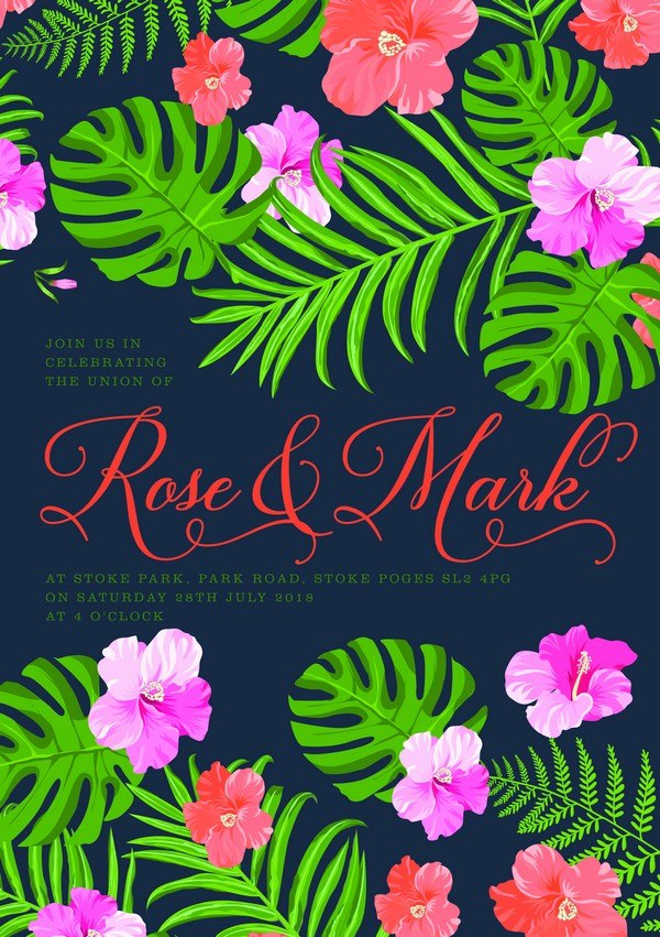 Blue and Green Tropical Wedding Invitation
