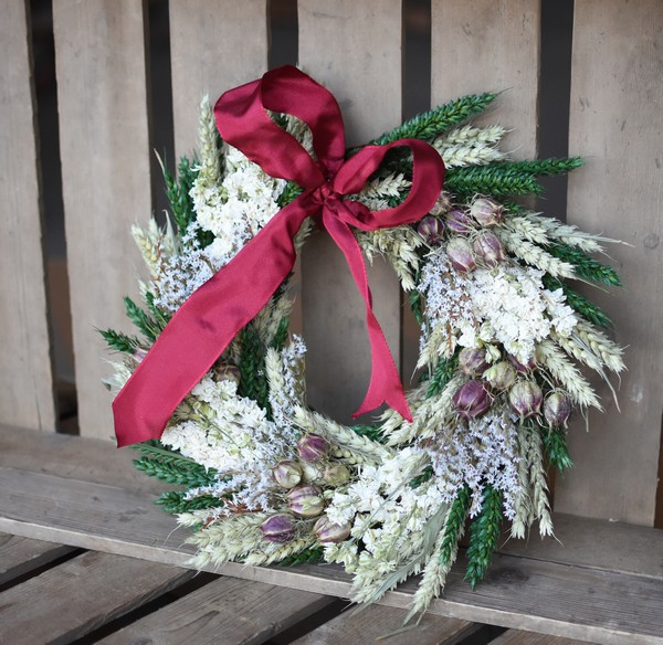 Christmas Wheat Wreath from Shropshire Petals