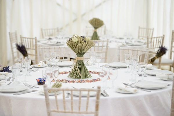 Cream Rose and Lavender Wheat Sheaf Table Centrepiece