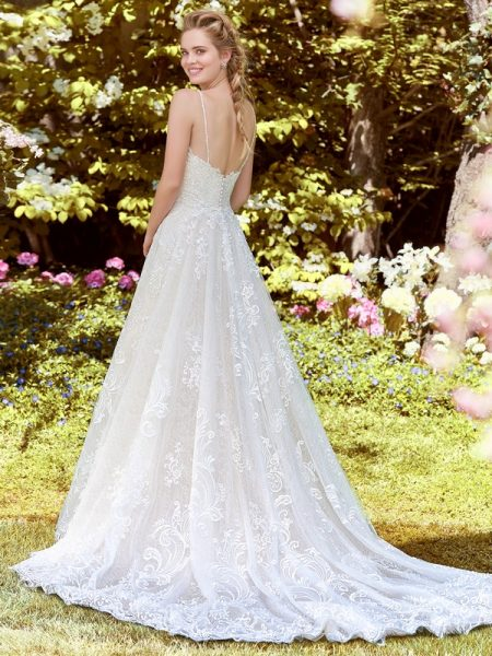 Back of Debbie Wedding Dress with Tulle Train from the Rebecca Ingram Juniper 2018 Bridal Collection