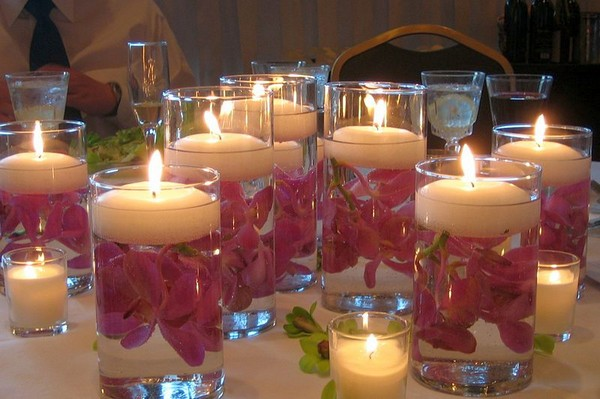 Floating Candles Simple DIY Wedding Table Centrepiece
