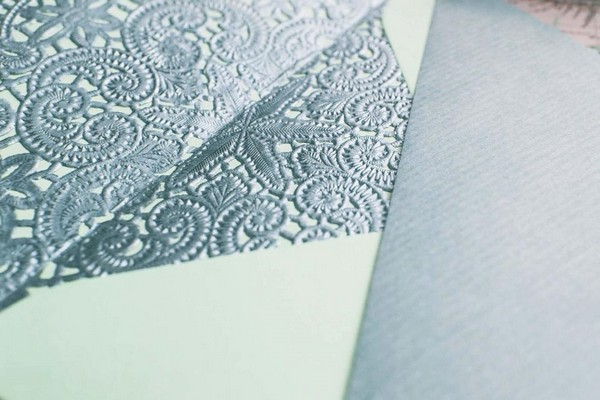 Lace Wedding Stationery Detail
