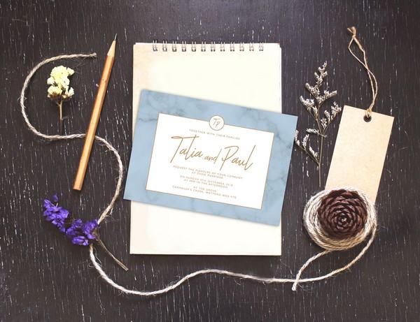 Light Blue Marble Wedding Invitation