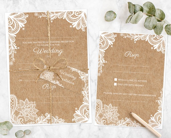 Lustic Lace Wedding Stationery Samples