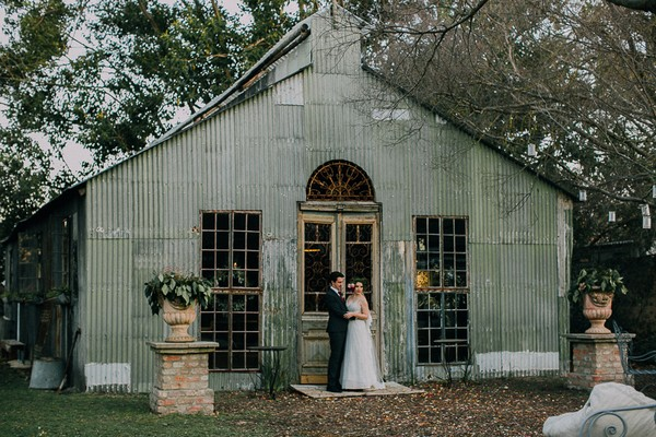 Bride and groom outside chapel at The Simondium Country Lodge