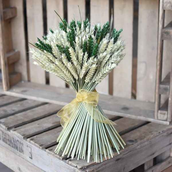 Natural and Green Christmas Wheat Sheaf from Shropshire Petals