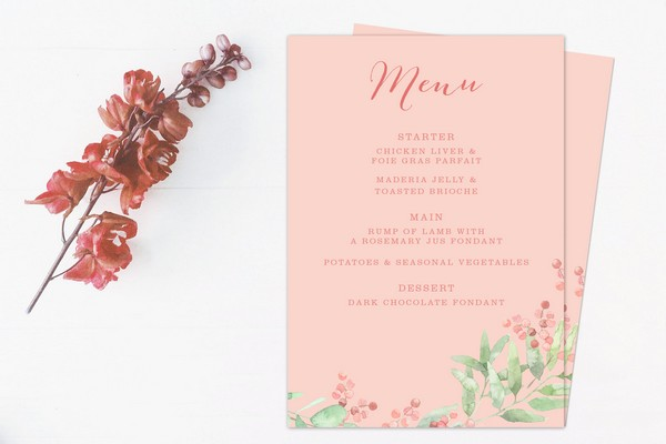 Pink Neutral Wedding Menu