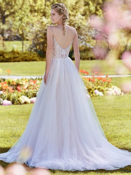 Back of Polly Wedding Dress with Tulle Overskirt from the Rebecca Ingram Juniper 2018 Bridal Collection