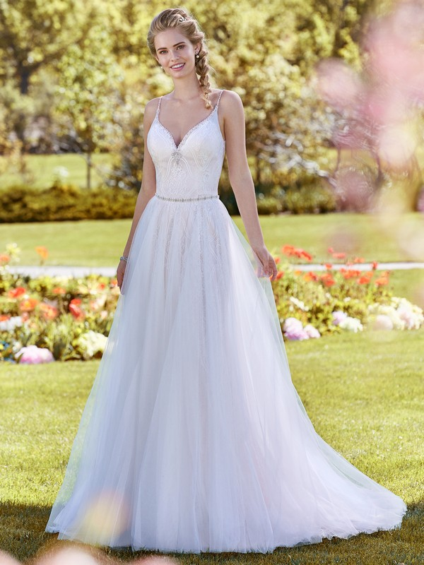 Polly Wedding Dress with Tulle Overskirt from the Rebecca Ingram Juniper 2018 Bridal Collection