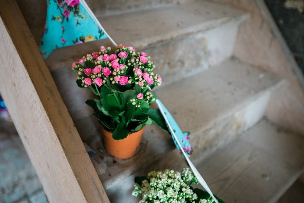 Pot Plants on Steps at Wedding