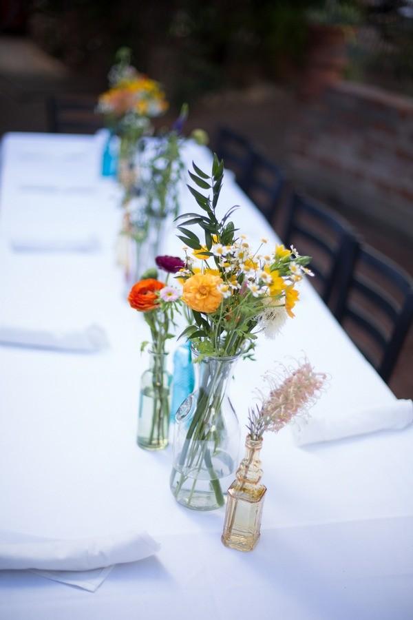 Wedding Table Flowers in Bud Vases