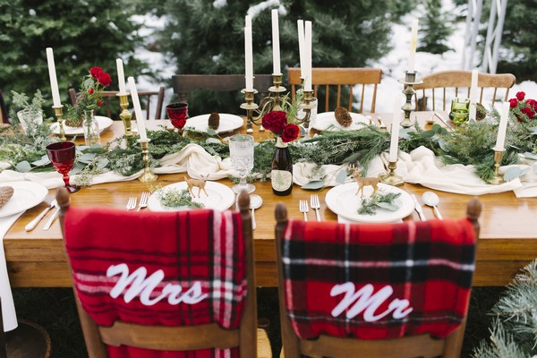 Mr and Mrs blankets on back of wedding chairs