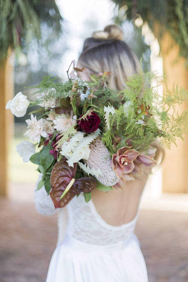 Large bridal bouquet with flowers and foliage