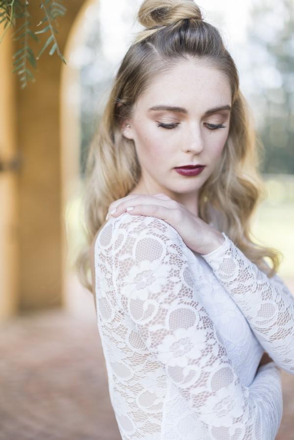 Detail on sleeve of bride's wedding dress