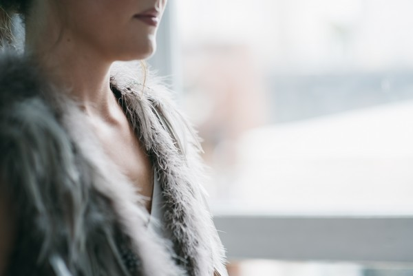 Fur and feather shrug