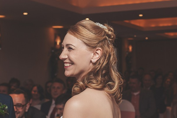 Bride with half up half down hairstyle