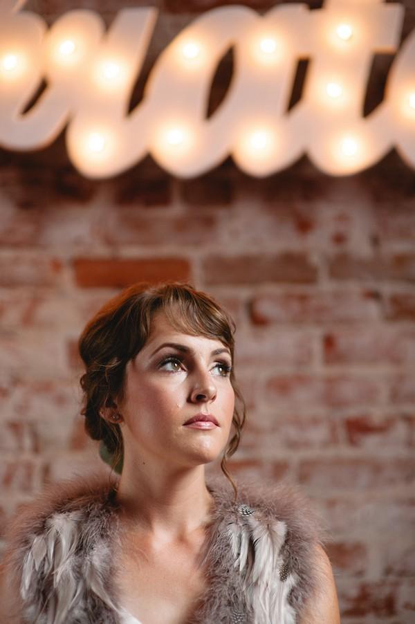 Bride glancing up