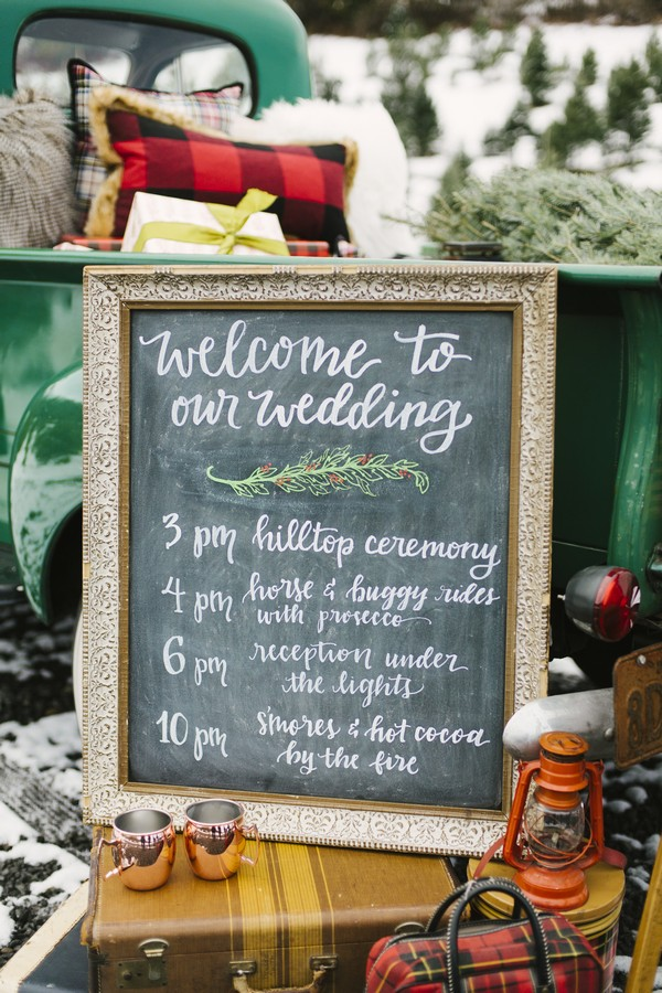 Wedding welcome chalkboard sign
