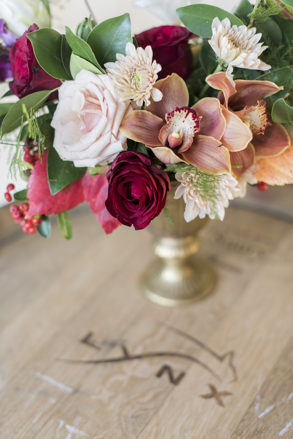Winter wedding floral display