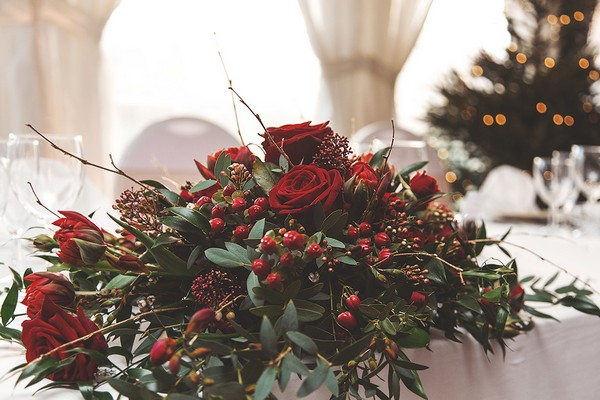 Red wedding top table flowers
