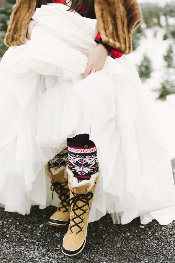 Bride wearing Christmas socks
