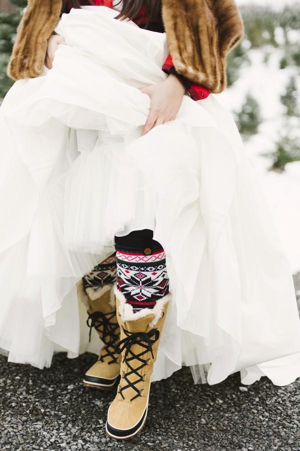 Bride wearing Christmas socks