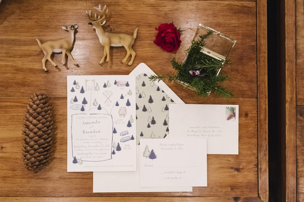 Winter wedding stationery with Christmas trees