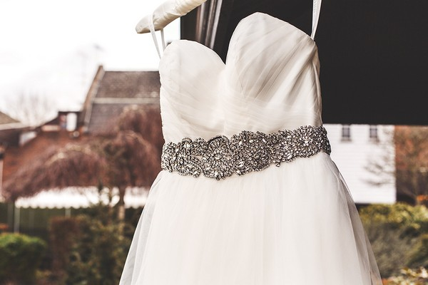 Sparkly belt on wedding dress