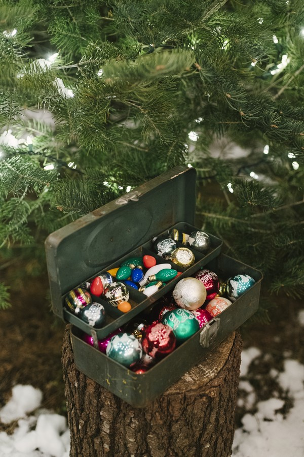 Suitcase of Christmas tree decorations
