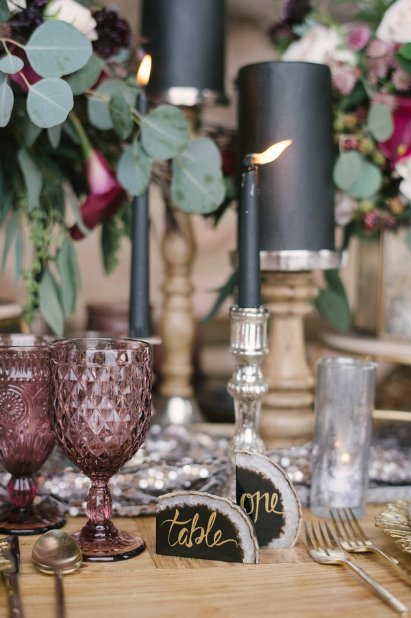 Black candles on wedding table