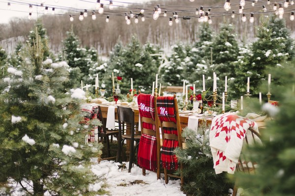 Wedding table in middle of Christmas tree farm