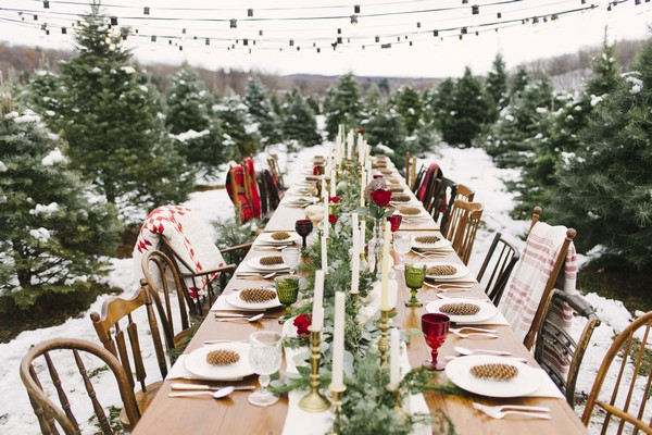 Long wedding table with winter styling