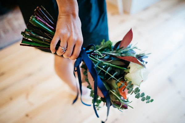 Blue Ribbon Tied Around Wedding Bouquet