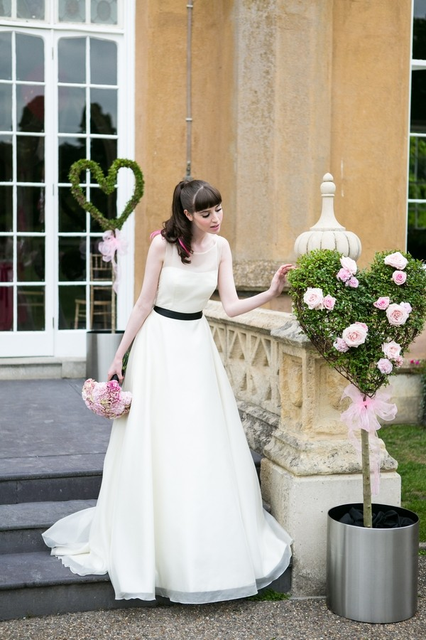 Bride and Heart-Shaped Wedding Topiary Arrangement