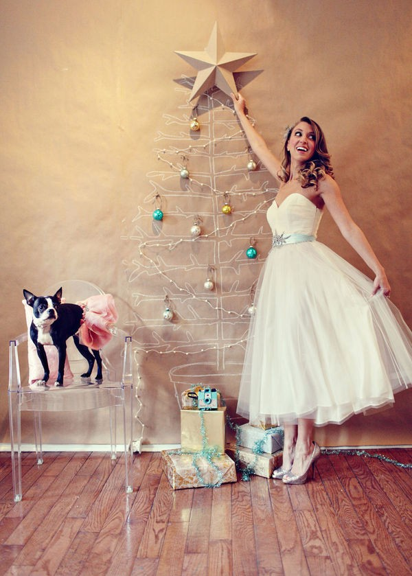 Ghost Chair Next to Bride Putting Star on Christmas Tree Drawing on Wall