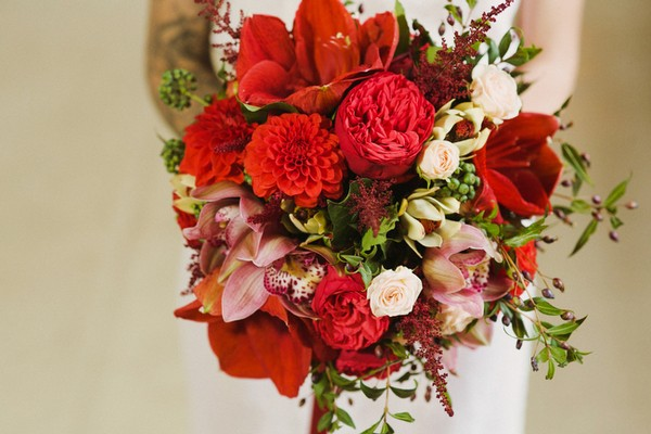 Wedding Bouquet with Mixed Red Flowers