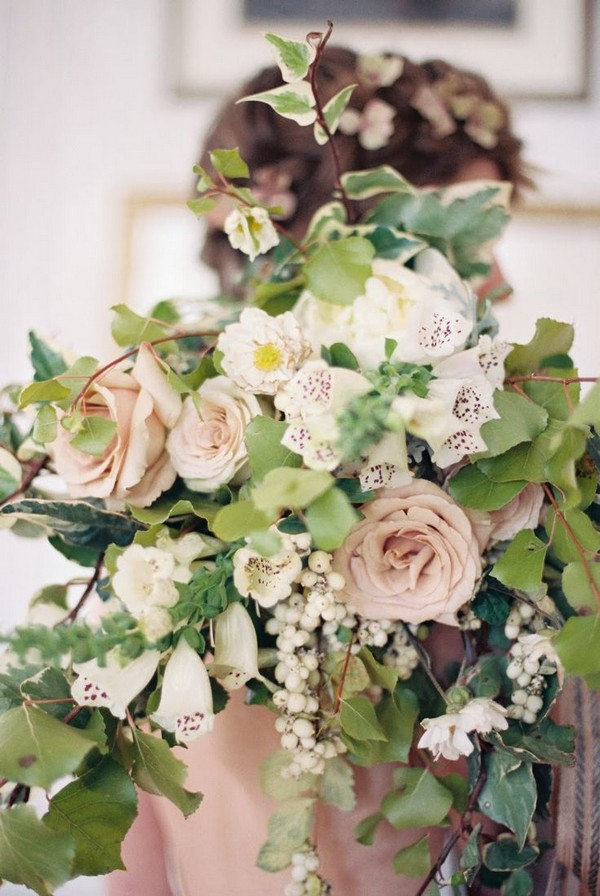 Winter Bouquet with Pale Pink Roses, Leaves and Berries