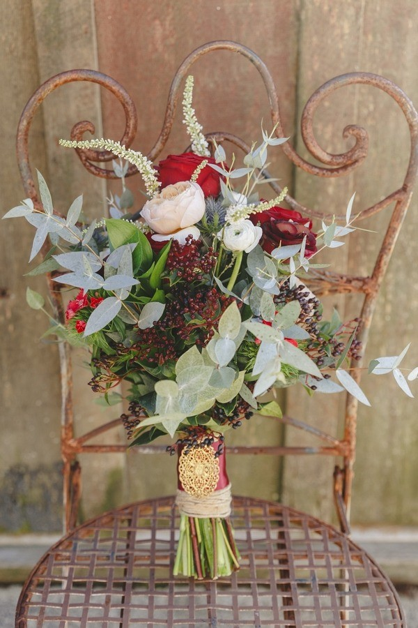 Winter Wedding Bouquet with Dark Red Berries and Leaves