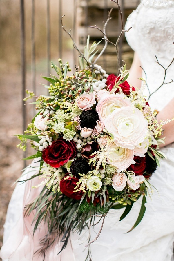 Winter Wedding Bouquet with White Ranunculus and Red Roses
