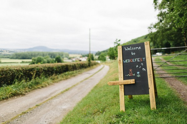 Wedgefest wedding sign at entrance to Lower Hill Farm