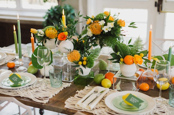 Citrus wedding table styling