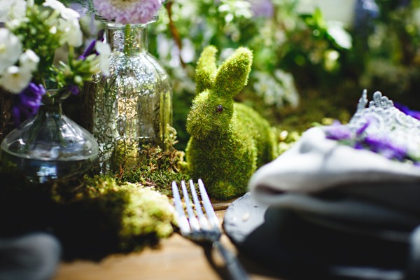Topiary rabbit wedding table decoration