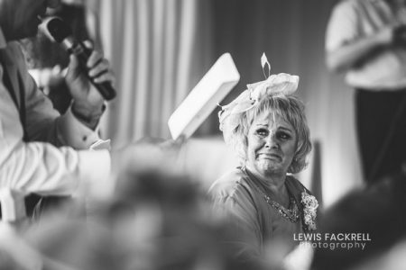 Lady getting emotional during wedding speech - Picture by Lewis Fackrell Photography