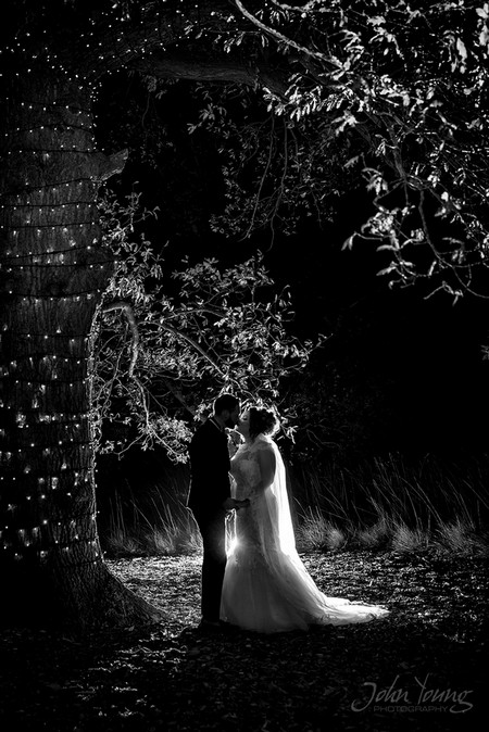 Bride and groom kissing by tree covered in fairy lights - Picture by John Young Photography