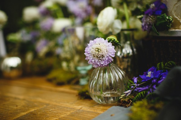 Small purple wedding table flowers