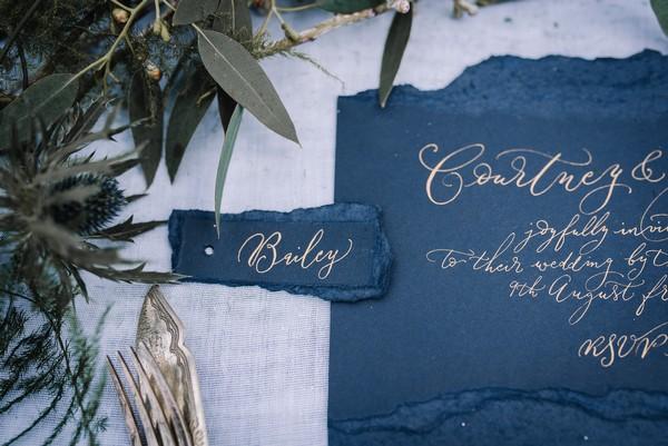 Rustic blue wedding stationery