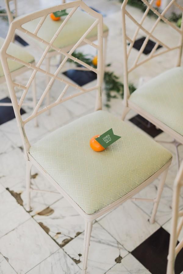 Orange on wedding ceremony seat