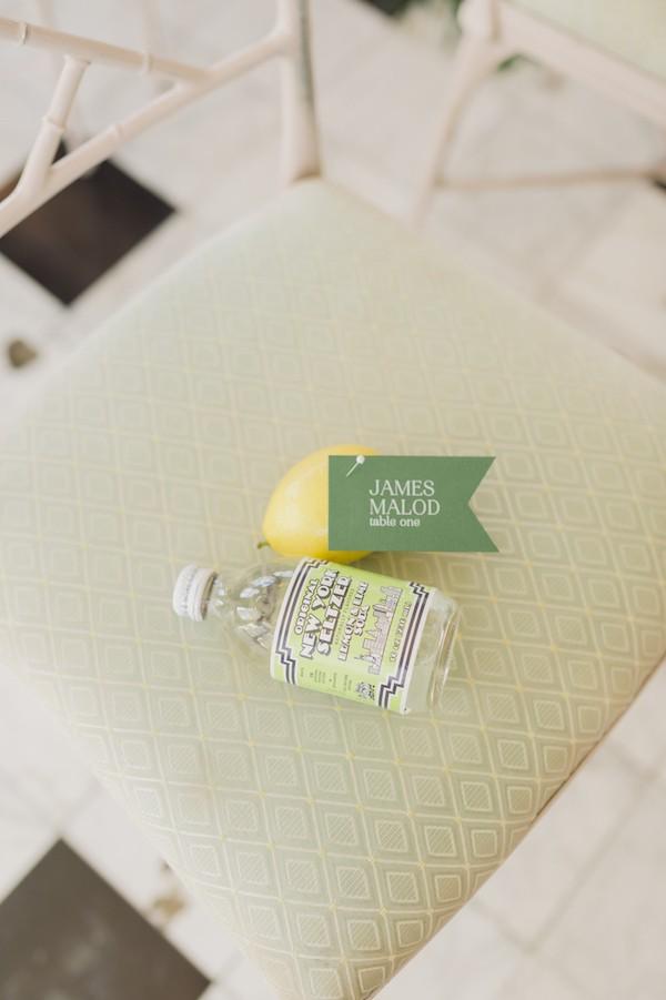 Lemon and bottle on wedding ceremony seat